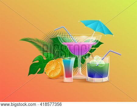 Summer Cocktails Decorated With Half Sliced Orange And Tropical Leaves Vector Cartoon Illustration I