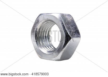 Metal Nut With Cut Metric Thread. Accessories For Assembling Various Machine Parts.