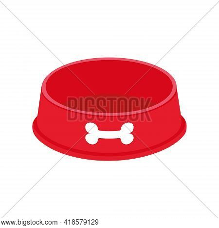 Empty Dog Food Bowl With Bone Icon. Red Pet Plastic Plate For Kibble Or Water Isolated On White Back