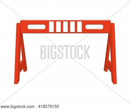 Traffic Barrier. Red Road Obstacle Isolated On White Background. Work Zone Safety. Warning Under Con