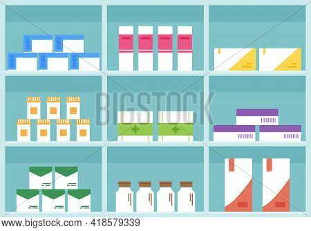 Pharmacy Vector Shelf, Medicine Store, Cartoon Boxes Pills And Containers Drug, Packaging Medication