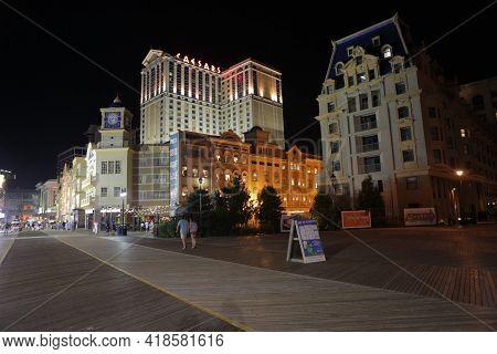 Atlantic City, Usa 2.09.2020 - Boardwalk View On Caesars Hotel And Casino In Atlantic City, New Jers