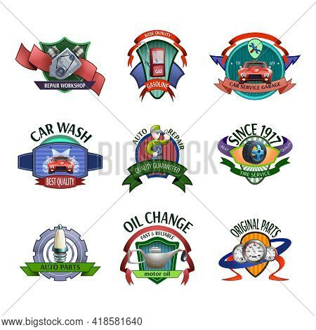 Auto Mechanic Diagnostics And Car Maintaining Service Center Emblems And Labels Icons Set Abstract V