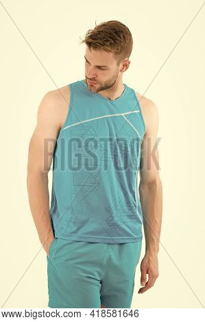 Sportsman. Muscular Sportsman In Sport Wear. Sport Fashion For Handsome Athletic Sportsman. Stylish