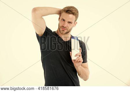 Shampoo. Hair Care With Shampoo. Shampoo In Hand Of Man. Man Hold Shampoo Bottle Isolated On White.