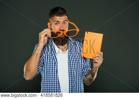 This Story Just Made My Day. Funny Book For Relax. Book Cover Copy Space. Hipster Bearded Man Wear F