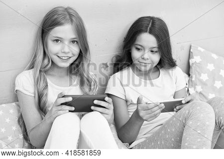 Kids Taking Selfie. Smartphone Application Concept. Girlish Leisure Pajama Party. Girls Smartphone L