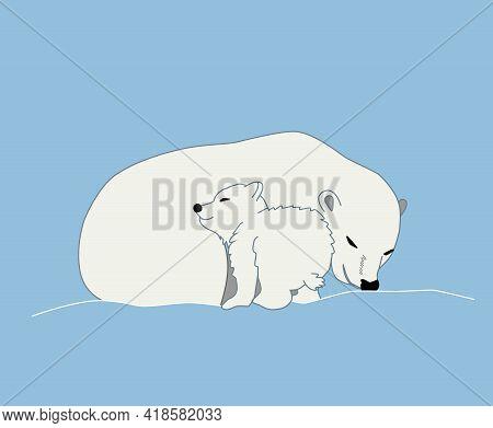 Polar Bear Sleeping With Its Cub, Cartoon Vector Illustration. The Bear Cub Snuggles Up To Its Mothe