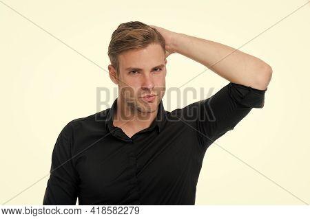 Healthy Hair. Guy Attractive Enjoy Hairstyle. Man Bearded Strict Face Enjoy Freshness Hair, White Ba