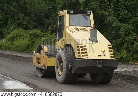 A Road Roller In The Construction Work And Road Work
