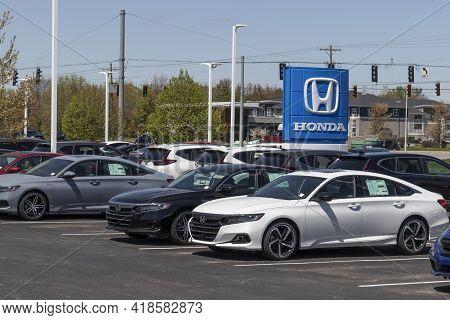 Avon - Circa April 2021: Honda Accord Display At A Dealership. Honda Engineers Among The Most Reliab