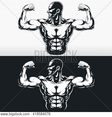 Silhouette Gym Bodybuilder Flexing Arm Muscles Stencil Vector Drawing