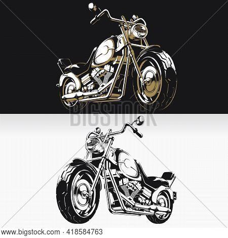 Silhouette Retro Motorcycle Chopper Biker Stencil Isolated Drawing
