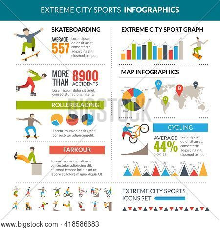 Extreme City Sports Infographics With Skateboarding Rollerblading Cycling Parkour Statistics Vector
