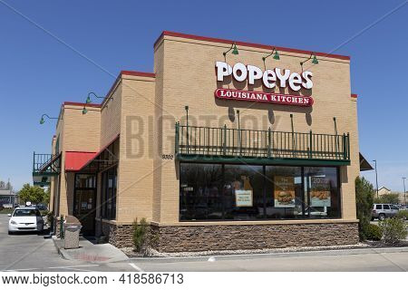 Avon - Circa April 2021: Popeyes Louisiana Kitchen Fast Food Restaurant. Popeyes Is Known For Its Ca