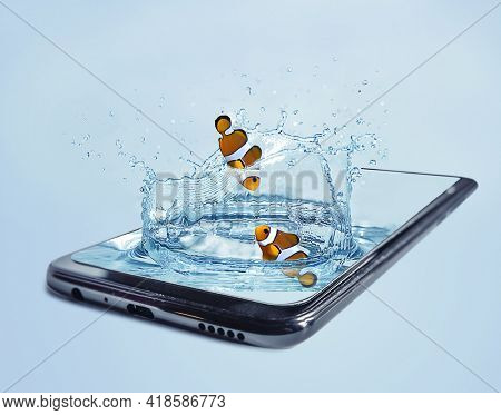 plashing water with fish in a smartphone. 3D stylization