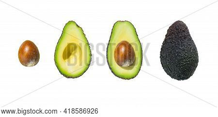 Top View Of Fresh Ripe Whole And Half Avocado Fruit Isolated On White Background