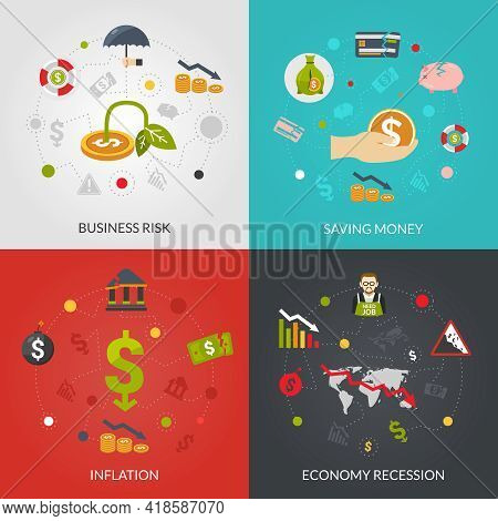 Financial Crisis 4 Flat Icons Composition Poster With Inflation And Recession Business Risks Abstrac