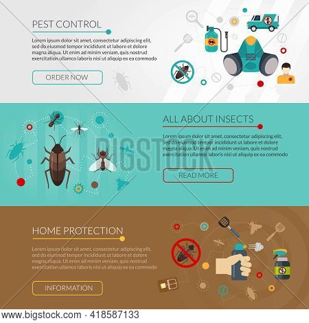 Interactive Website For Information About Insects Pest Control And Extermination 3 Flat Horizontal B