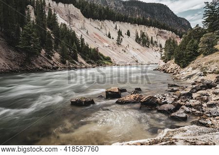 Smoothed Rapids Near Seven Mile Hole Along The Yellowstone River