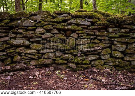 Straight Angle Of Mossy Stone Wall Along Trail In Great Smoky Mountains National Park
