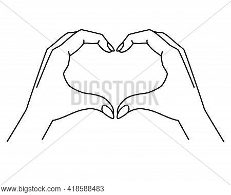 Hands Show Gesture - Heart - Vector Linear Illustration With Editable Outline. Heart Sign Shown By H
