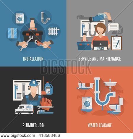 Online Plumbing Service For Sanitary Installations Maintenance And Leakage Fixing 4 Flat Icons Squar