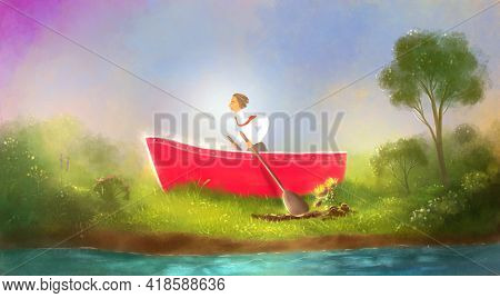 Wrong Decisions. Wasted Efforts. Striving For The Wrong Goal. Businessman In A Boat Rowing On The Sh