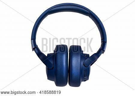 Blue Wireless Headphone Isolated On White. Wireless Headphones With Big Ear Pads On White Background