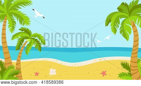 Tropical Beach, Summer Background For Text. Palm Trees And Seagulls, Sea Sand, Ocean. Island Flat Ca
