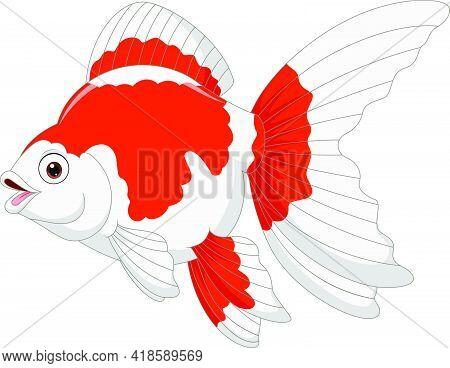 Vector Illustration Of Cartoon Goldfish On A White Background