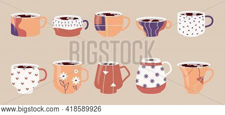 Collection Ceramic Cups. Set Icons Of Mugs With Various Ornaments Filled With Drink, Hot Tea Or Coff
