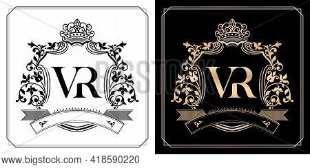 Vr Royal Emblem With Crown, Initial Letter And Graphic Name Frames Border Of Floral Designs With Two