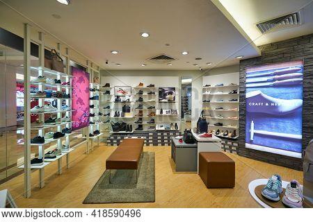 KUALA LUMPUR, MALAYSIA - CIRCA JANUARY, 2020: interior shot of ECCO store in Suria KLCC shopping mall in Kuala Lumpur.
