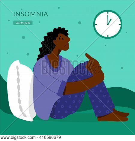 Insomnia. A Black Woman Cannot Sleep. Female Character Suffers From Insomnia. Sleep Disorder, Sleepl