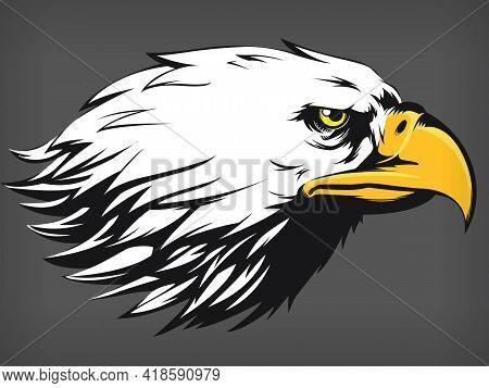 Eagle Falcon Hawk Head Cartoon Side Profile View Black Illustration