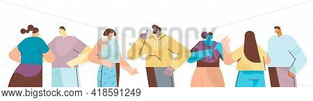 Mix Race People Group In Casual Clothes Men Women Standing Together Cartoon Characters Portraits