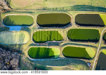 Top-down view of sewage treatment lagoons near Georgetown, Kentucky