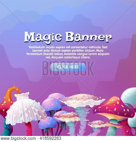 Colorful Fantasy Magic Mushroom Border Landscape Set At The Bottom On Square Background. Cartoon Fun