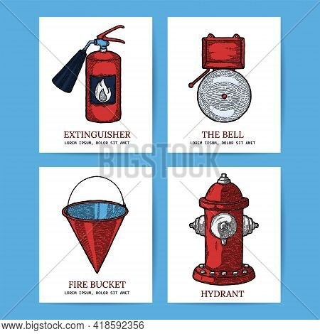 Firefighting Vintage Banner Icons Of Fireman Tools. Rescue Equipment Isolated. Design Template With