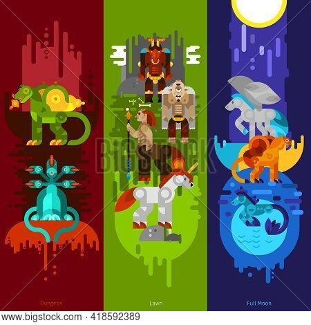 Three Banners Flat Of Mythical Creatures With Dungeon And Lawn And Full Moon Set Vertical Vector Ill