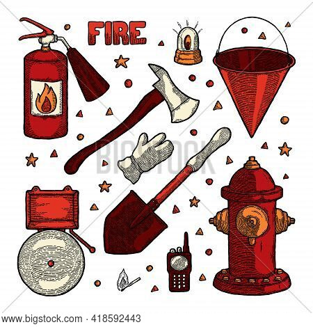 Firefighting Vintage Elements Set Of Fireman Tools Vector Illustration. Rescue Equipment Isolated. P