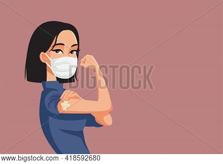 Asian Woman Showing Vaccinated Arm Vector Illustration