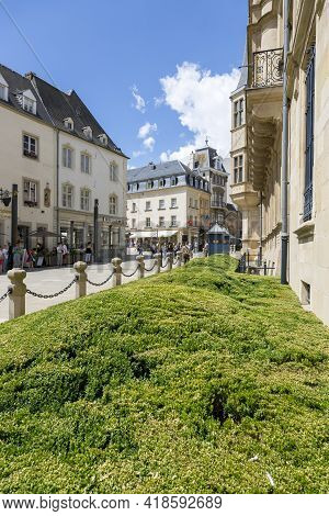 Luxembourg, Grand Duchy Of Luxembourg - July 06, 2018: Green Flower Bed In Front Of The Palace Of Gr