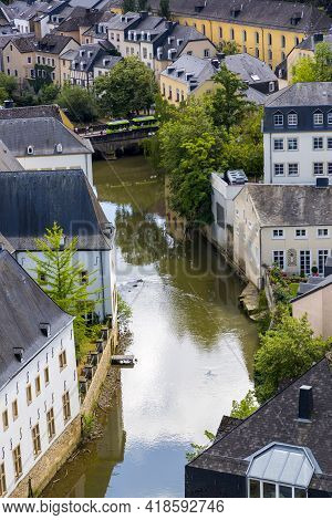 Luxembourg, Grand Duchy Of Luxembourg - July 06, 2018: View Of The River Alzette And Luxembourg