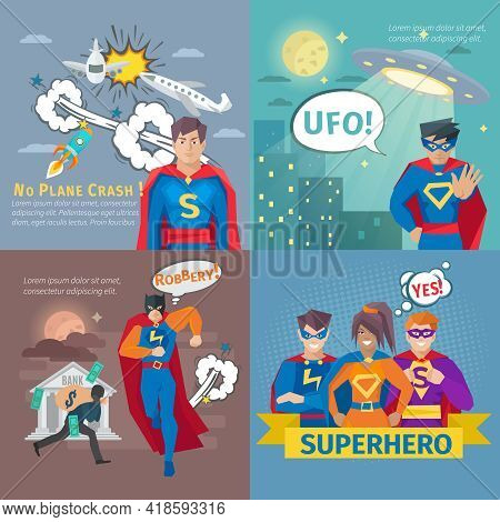 Superhero Concept Icons Set With Plane Crash And Robbery Symbols Flat Isolated Vector Illustration