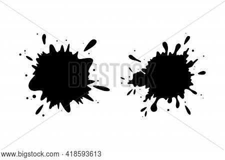 Grungy Silhouettes Of Ink Stains. Dropping Stains Frames Isolated In White Background. Flat Vector I