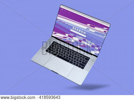 Floating laptop with Search Bar on the screen