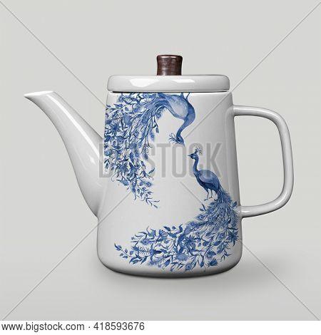 Blue China floral porcelain kettle tableware