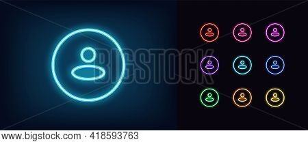 Neon User Avatar Icon. Glowing Neon Person Sign, Outline Round Avatar Pictogram In Vivid Color. Anon